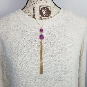 🐧Purple Druzy Gold Toned Tassel Y Necklace
